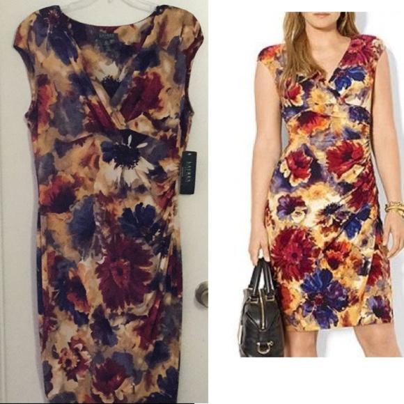 Ralph Lauren Plus Size Faux Wrap Floral Dress NWT